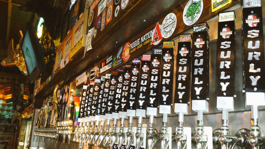 .@surlybrewing beers a plenty.  4 on tonight Furious, Abrasive, Cynic and Overated!  Full line up Thurs #onlyatelbait http://t.co/5bwlWhryPm