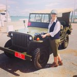 Old army jeep on display at #theborellaride final stop at Stokes Hill Wharf. @VickiKerrigan trying to look casual... http://t.co/1j3hlPmEXX