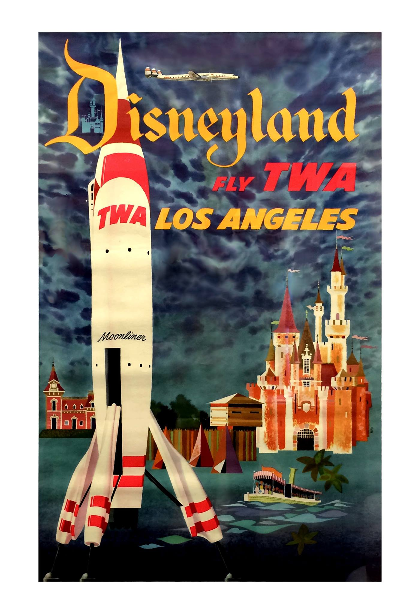 So many fun details in this TWA Disneyland poster by David Klein, who created all the amazing TWA travel posters. http://t.co/noIupgw8Xm