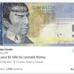 Canadenses homenageiam Spock, de Star trek, em cédulas de 5 dólares http://t.co/f3amZZUBy7 #G1 http://t.co/MvzQxQbx27