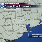Dense Fog Advisory for almost the entire region this morning! Travel is going to be slow across the area. http://t.co/GtlEuu9HNd