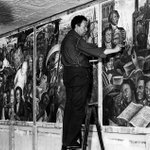Diego Rivera painting a mural for the New Workers' School, a Communist training center, 1933 #NYC #art http://t.co/V60UWh3FNW