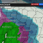 Storm Tracker at 11am. Green=Rain. Blue=Snow. Pink = Freezing rain and sleet. Bit of everything to ALL rain late. http://t.co/x7itmuMnqc