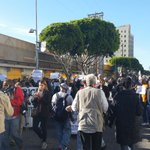 Demonstrators now heading from Skid Row to LAPD headquarters. Demanding cops involved in shooting be punished. http://t.co/4BPyA1ci8Y