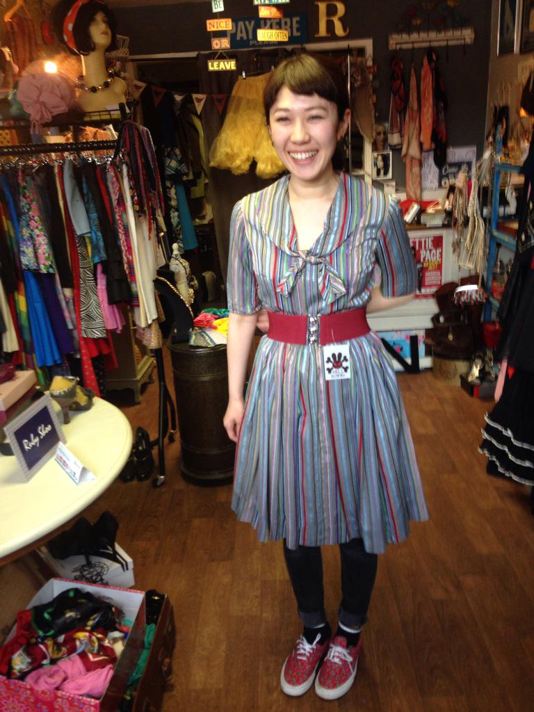Emma @ My Vintage (@emmabphilosophy): Just had the very lovely Naho here visiting from Japan, she's taken this stunning 50s vintage dress with her