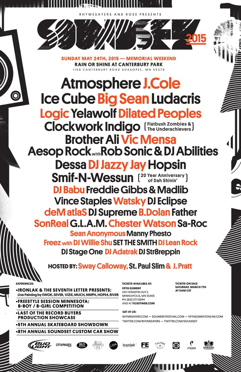 Here is the official 2015 #Soundset lineup! Tickets go on sale THIS SATURDAY at 11 AM CST. http://t.co/xfm7CRcl0M