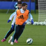 .@oscar8 and @hazardeden10 in training at Cobham... #CFC http://t.co/uO361C15cM