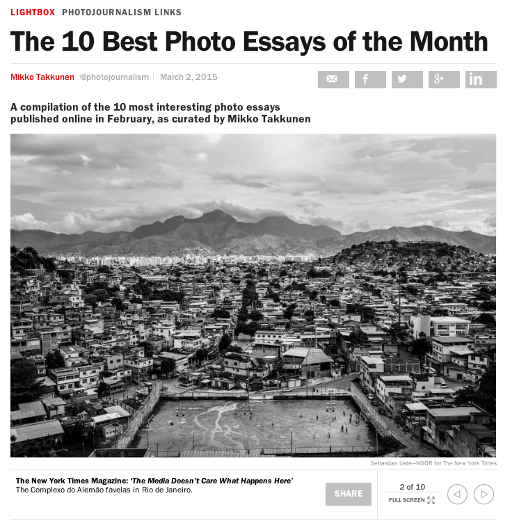 10 Best Photo Essays of the Month by @photojournalism incl. @SebastianListe #Rio #journalism http://t.co/drO9ZonfDk http://t.co/cj7oMb5vWv