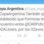 El partido por @Copa_Argentina entre @CALiniers y @CARPoficial será en Fromosa. #LiniersBB #CopaArgentina #RiverPlate http://t.co/8LYUZMWf5u