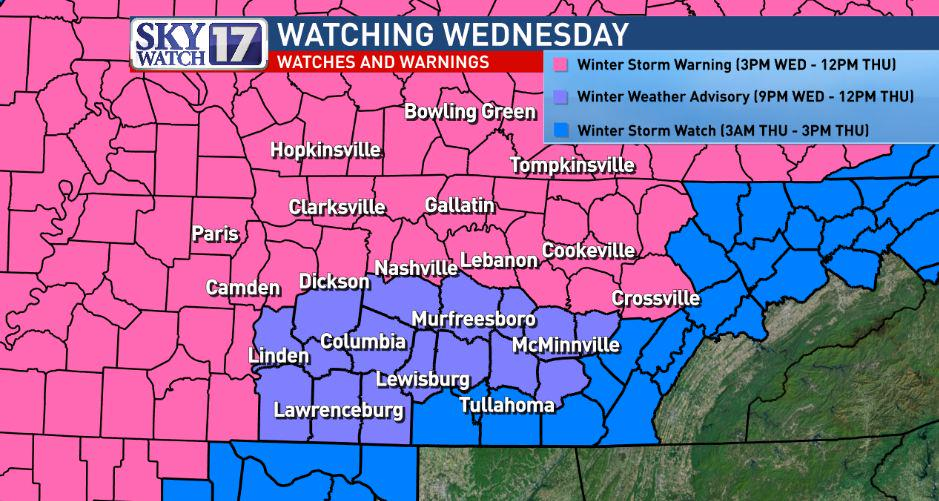 Winter Storm Warning is up, with a Winter Weather Advisory for counties south of I-40.  Sleet/Snow likely  #skywatch http://t.co/oKIyL2bHTk