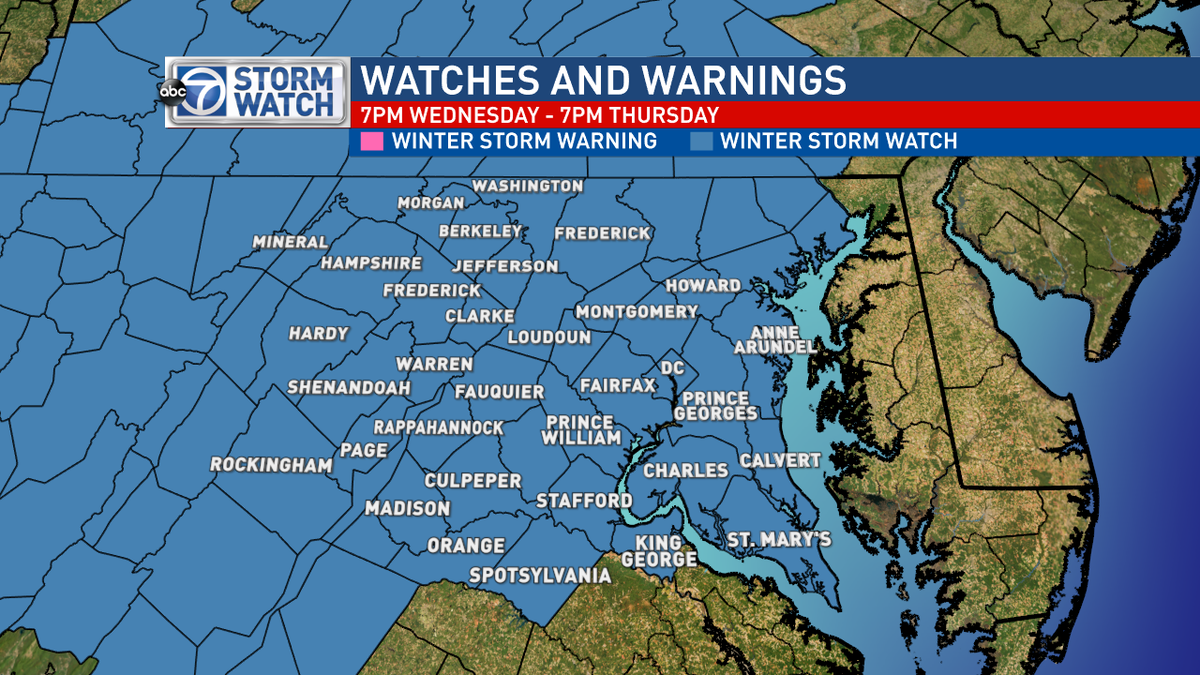 Lauryn Ricketts (@laurynricketts): Winter Storm Watch in effect from 7pm Wednesday through 7pm Thursday for the D.C. area @ABC7News http://t.co/lNJiBJUCwG