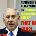 """Remember when #Netanyahu first told us """" Iran is 3-5 years from a nuclear bomb?"""" THAT WAS IN 1982. #NetanyahuSpeech http://t.co/3Ka9iG3xmj"""