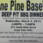 Come support Lone Pine Varsity Baseball Deep Pit BBQ Fundraiser, on Wednesday, March 4, 2015. http://t.co/CQKXPRPcut