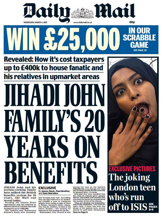 "Daily mail front page: ""jihadi john family's 20 years on ..."