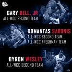 Congrats @GBell_5, @byron_wesley, & @Dsabonis11 on All-WCC Second Team honors! And Sabonis on the All-Freshman Team! http://t.co/cpJP3ivjRl