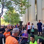 Union protesters arriving at Trades Hall ahead of rally against the Federal govt. Walking to Fed Sq @SkyNewsAust http://t.co/RqqtMpwuEe