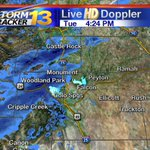 Heres the band of snow of snow that will impact the evening drive around the Pikes Peak region #cowx http://t.co/ACElCMj2Zv