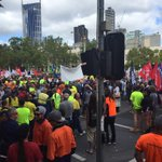 Thousands of unionists protesting possible changes to penalty rates and minimum wage in March through city.#auspol http://t.co/OY5ewh1sJM