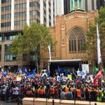 Massive support for #workersrights @unionsnsw #march4 rally outside Parliament House. http://t.co/B3pp0PJQ0x