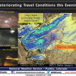 Travel conditions deteriorating. Heres the 7 PM radar analysis. Tweet us your reports. #cowx http://t.co/UerCDETiNx