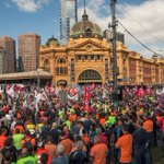 Thousands rally in #Melbourne against Abbott governments workplace inquiry. PHOTOS by @southey70 #March4 @theage http://t.co/lqnVhLbnte