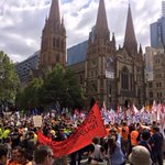 "Melbourne looking awesome as marchers say No to Abbott govt cutbacks. ""We Say Fight Back!"" #March4 http://t.co/bcwkkRNYW6"