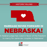 Nebraska joins the ranks of states where a federal court has struck down a ban on same sex marriage as unconstituti… http://t.co/A5YymhE6WX
