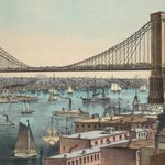 Design for an East River Bridge, c. 1862. John Roebling redesigned the towers as gothic arches #NYC #infrastructure http://t.co/H2xITLQKXa