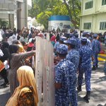 #Maldives rogue police forcefully disperse peaceful woman protestors near Prez office. #NasheedUnderArrest #ITBBerlin http://t.co/oTridg5X8e