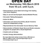 Details of an open day at The Partially Sighted Society @partsight in #Doncaster #doncasterisgreat http://t.co/XxJbIWkY9o