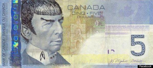 Hahaha! The Bank of Canada has asked Star Trek fans to stop 'Spocking' their $5 notes... http://t.co/4aErQMbswG
