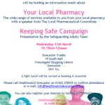 Places are being taken up for the HWD event on 11.3.15 on Pharmacy services & Keeping Safe campaign #doncasterisgreat http://t.co/oKh2NJH9Gf