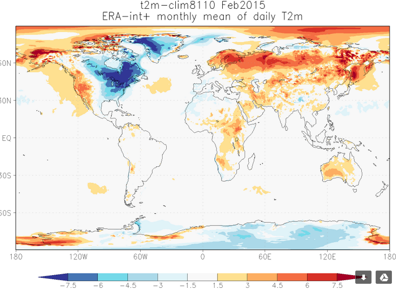 Feb 2015 temp anomalies: lots of warm regions and a strong cold pocket over eastern US. #climate http://t.co/N9NPC6IIxO
