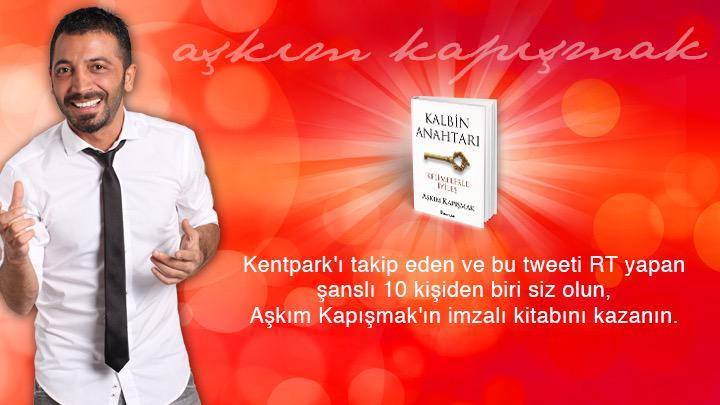 @KENTPARKAVM_'yi takip edip, bu tweeti RT yapan 10 şanslı kişi Aşkım Kapışmak imzalı kitabını kazanıyor! @akapismak http://t.co/WfhqLfAp7f
