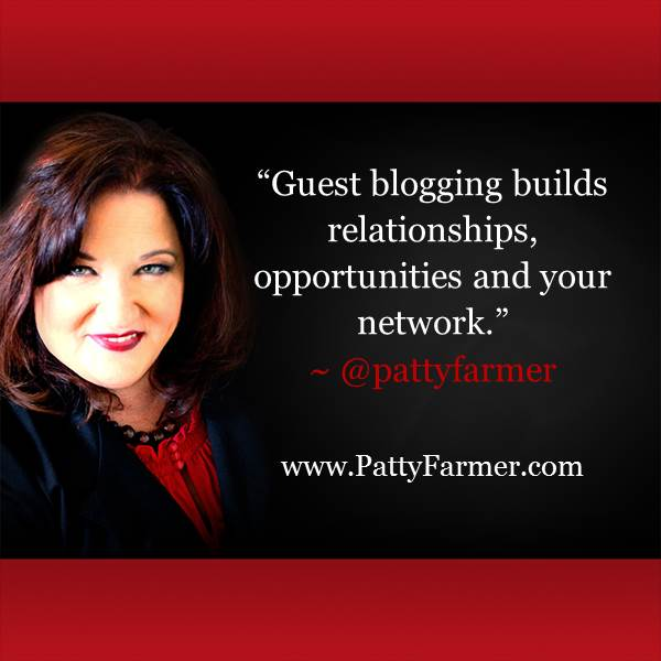 """Guest #blogging builds relationships, opportunities & your network."" ~ @PattyFarmer http://t.co/DHtUgE5pl7 http://t.co/xrghdpoIcz"