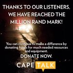 R1-million! Thank you, listeners near and far! Click http://t.co/N3qhnW51PS or call 021 446 4837 to donate #CapeFire http://t.co/TlVA24tgKv
