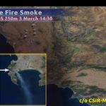 RT @eNCAWeather: Smoke from #CapeFire on a MODIS 250m satellite image on Tues, also see the burnscar from the fire http://t.co/MU9B23EOcH