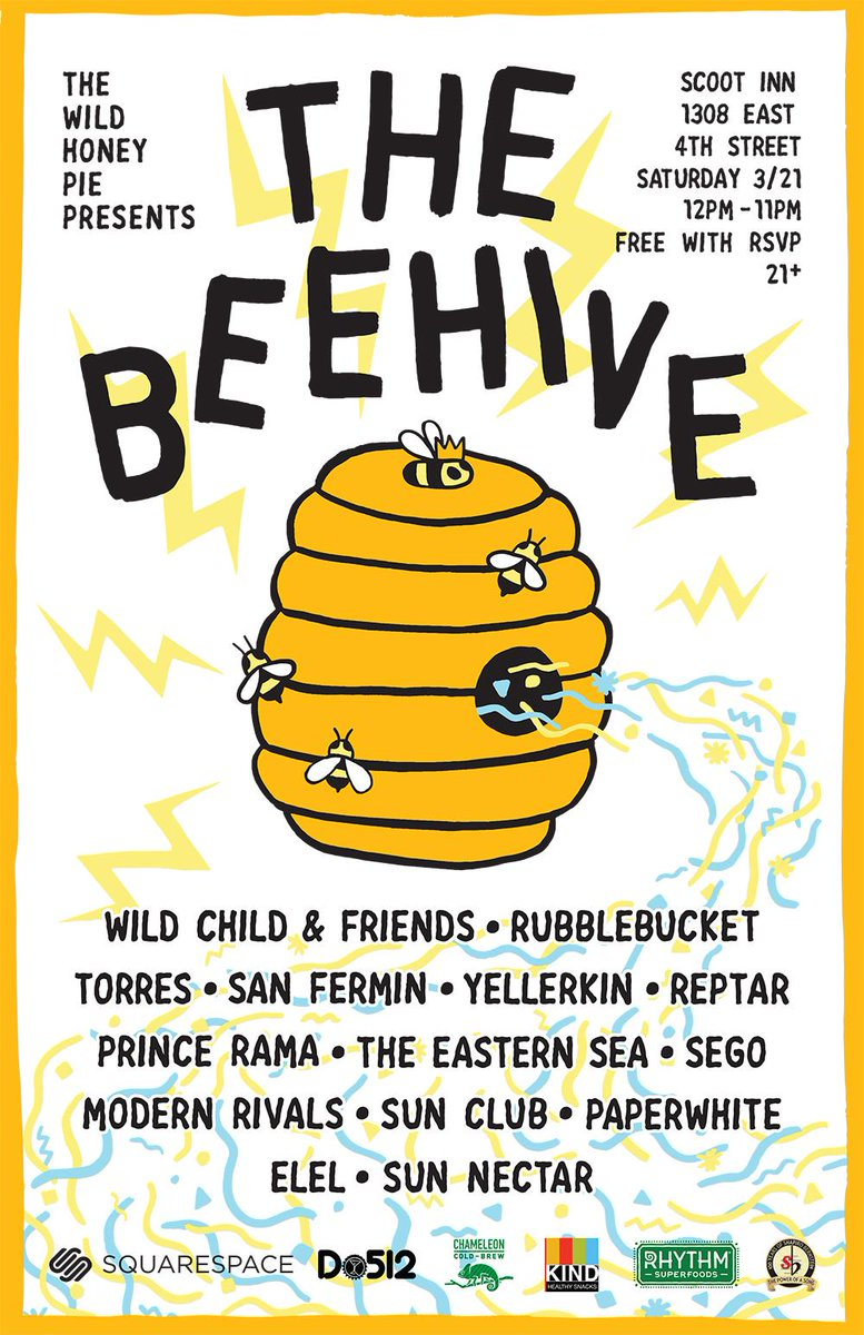 The Wild Honey Pie (@thewildhoneypie): Announcing #The_Beehive made possible by @squarespace @RhythmSuperfood & more! RSVP for free: http://t.co/iNqzb3VoiE http://t.co/2bsyvEfGKf