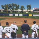 Ladies and Gentlemen: Please rise and remove your caps. #CactusCrew #BaseballBegins http://t.co/oOMUciZ8Oj