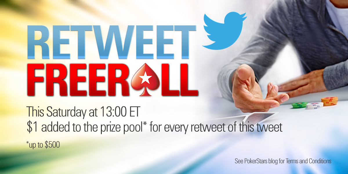 Good luck to everyone playing in the inaugural Retweet Freeroll! The size of the prize pool is in your hands... http://t.co/c278CxcWfY