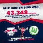 Die Hütte ist erstmals AUSVERKAUFT! 43.348 Zuschauer in der Red Bull Arena! POKAL-WAHNSINN! @DFB_Pokal #RBLWOB http://t.co/KMJy5qii2R