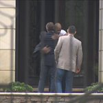 Huggin it out: Vikings head coach Mike Zimmer and GM Rick Spielman in Houston trying to heal things with AP. http://t.co/f8p58czF5W