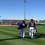 Todays starting battery makes their way to the field. First pitch is less than 20 minutes away. #MarinersST http://t.co/tLh8MXS0V9