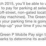 Its a start: Green P announces app to allow mobile payments in select parking lots (no street parking yet): http://t.co/h1ouqJwCQw""