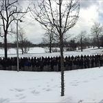 Students line the road for Fr. Teds burial procession to Holy Cross Community Cemetery (photo credit:@ObserverNDSMC) http://t.co/Y5XS6d9k7K
