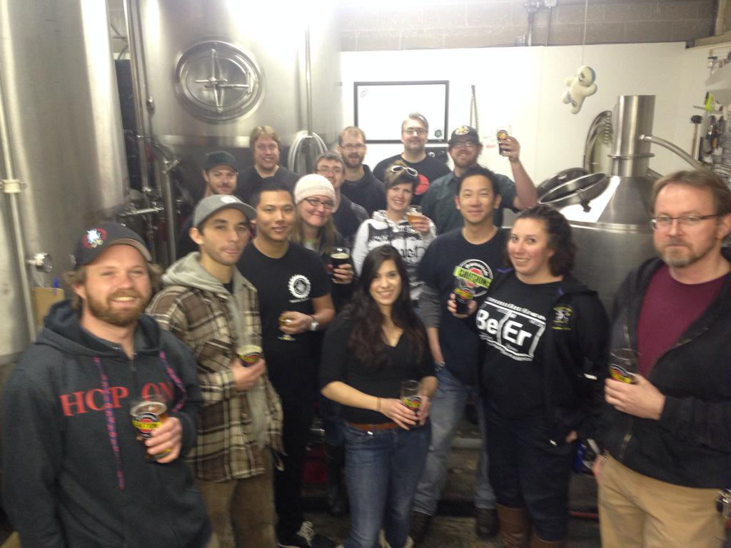 This @pumpkinpeachale collab at @cautionbrewing involves at leat 8 breweries! http://t.co/FYrPwKOMNB