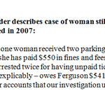 AG Holder describes the case of a woman who is still paying #Ferguson for 2 parking tickets received in 2007. http://t.co/spIa6b7KUc