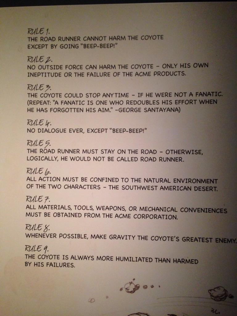 Chuck Jones' rules for writing the road runner cartoons: http://t.co/aLzh6mbomm