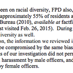 "On top of everything, footnote in DOJ report indicates #Ferguson ""tolerates sexual harassment."" Only 4 female cops. http://t.co/fwtWmWzcAN"