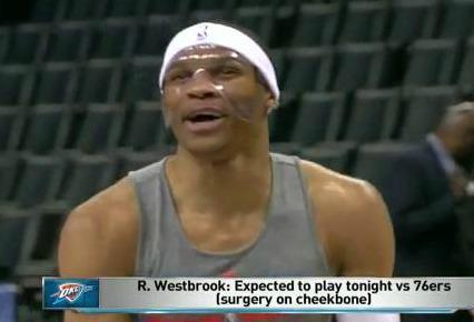 Here's @RussWest44 sporting the mask he'll be wearing tonight. http://t.co/KDDqM6OoRw